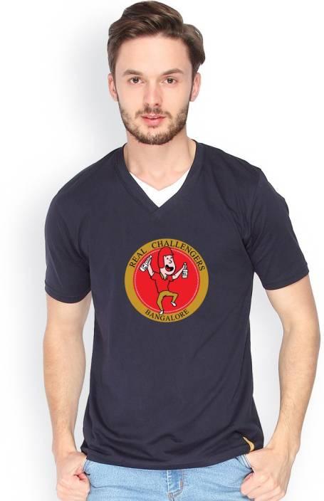 Campus Sutra Printed Men V-neck Dark Blue T-Shirt