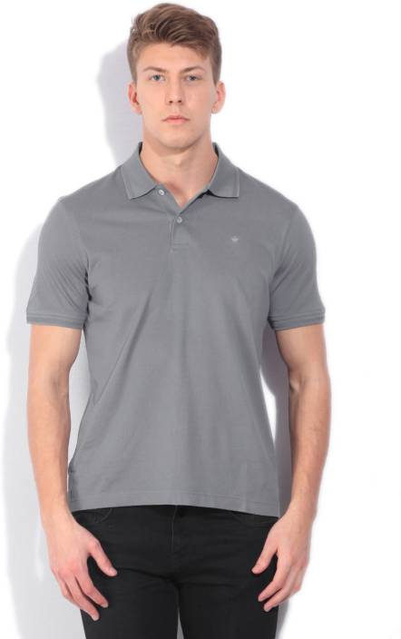 Louis Philippe Solid Men's Polo Neck Grey T-Shirt