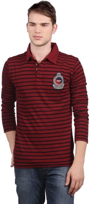 8ba6e0db Park Avenue Striped Men's Polo Neck Red T-Shirt - Buy Blue Park Avenue  Striped Men's Polo Neck Red T-Shirt Online at Best Prices in India    Flipkart.com
