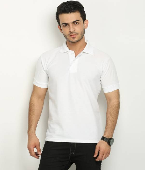 beaad74e53b Fundoo-T Solid Men s Polo Neck White T-Shirt - Buy White Fundoo-T Solid  Men s Polo Neck White T-Shirt Online at Best Prices in India