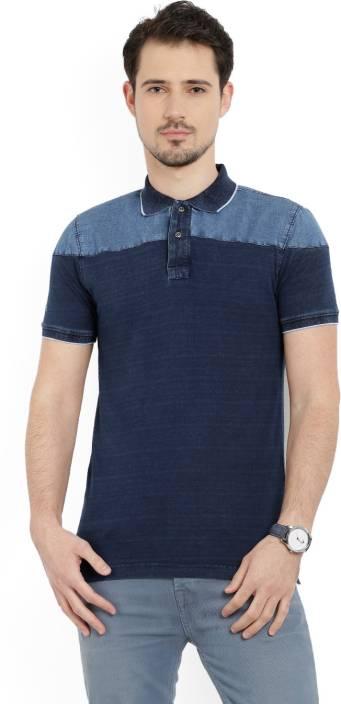LP Jeans by Louis Philippe Solid Men's Polo Neck Blue T-Shirt