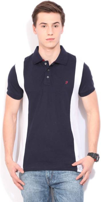 French Connection Solid Men's Polo Neck Blue T-Shirt