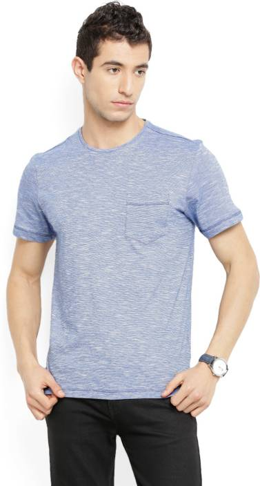 LP Jeans by Louis Philippe Solid Men's Round Neck Blue T-Shirt