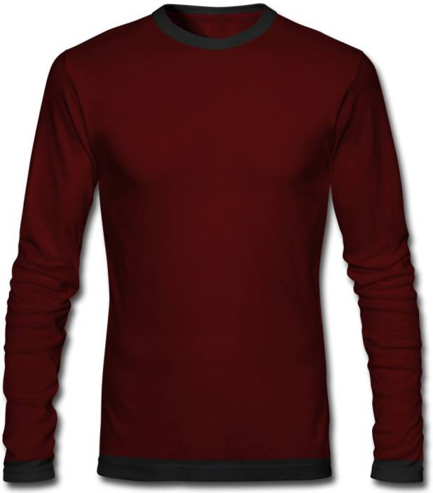 GHPC Solid Men's Round Neck Maroon T-Shirt