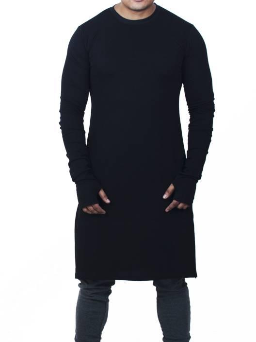 Fugazee Lifestyle Solid Men's Round Neck Black T-Shirt - Buy Black ...