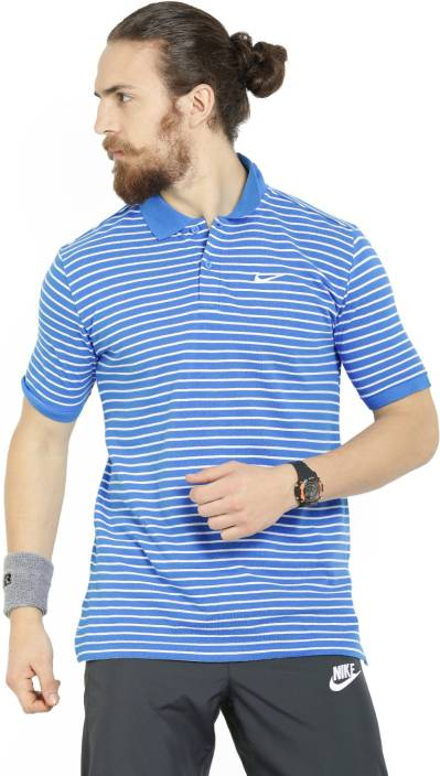 Nike Striped Men s Polo Neck Blue T-Shirt - Buy BLUE-WHITE Nike Striped  Men s Polo Neck Blue T-Shirt Online at Best Prices in India  3b99a32fc54b