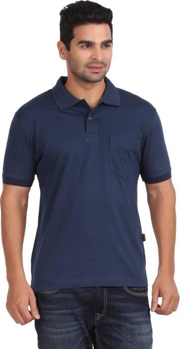 e955ceca520 Moonwalker Solid Men s Polo Neck Dark Blue T-Shirt - Buy Navy Moonwalker  Solid Men s Polo Neck Dark Blue T-Shirt Online at Best Prices in India