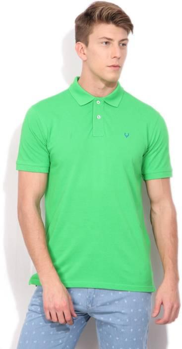 Allen Solly Solid Men Polo Neck Light Green T-Shirt
