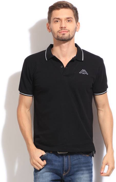 9a38737a80f Kappa Solid Men's Polo Neck Black T-Shirt - Buy BLACK Kappa Solid Men's Polo  Neck Black T-Shirt Online at Best Prices in India | Flipkart.com
