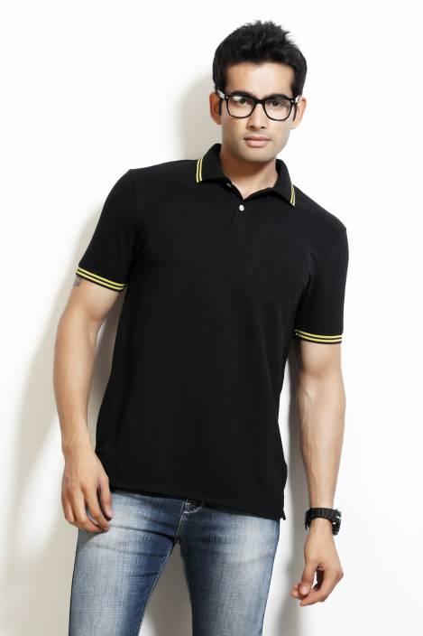 Design Classics Solid Men's Polo Neck Black T-Shirt
