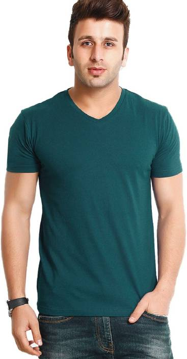 Tripr Solid Men's V-neck Green T-Shirt