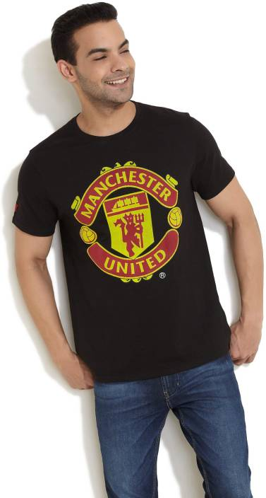 bc9383d1f17 Manchester United Printed Men s Round Neck Black T-Shirt - Buy Black Manchester  United Printed Men s Round Neck Black T-Shirt Online at Best Prices in  India ...
