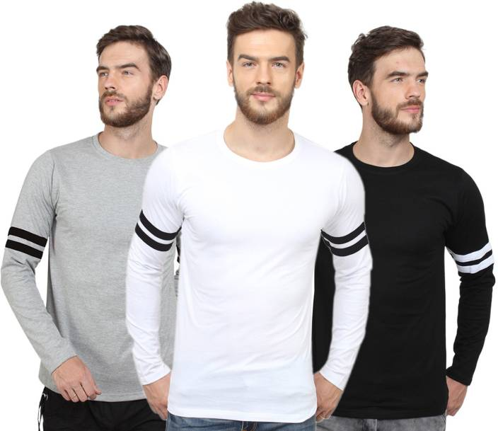 0199bb50ad99 SayItLoud Solid Men's Round Neck Grey, Black, White T-Shirt (Pack of 3)