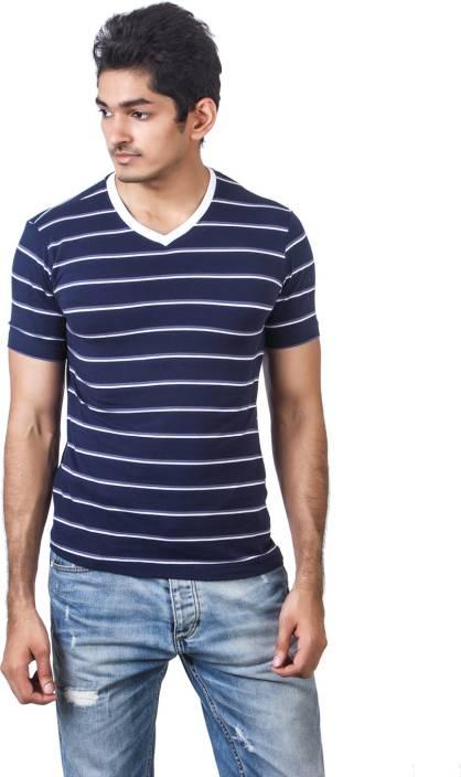1181ec8983 American Crew Striped Men's V-neck Blue, White T-Shirt - Buy Navy Blue,  White, Grey American Crew Striped Men's V-neck Blue, White T-Shirt Online  at Best ...