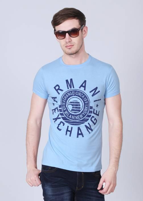 0cb1ce8dd2d Armani Exchange Printed Men s Round Neck Light Blue T-Shirt - Buy Light  Blue Armani Exchange Printed Men s Round Neck Light Blue T-Shirt Online at  Best ...