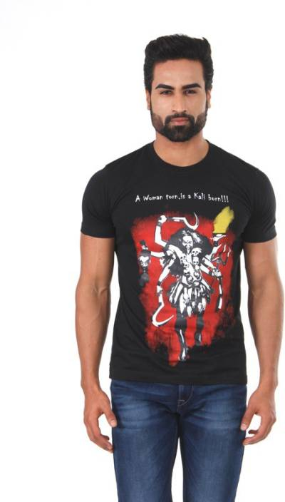 Vimanika Graphic Print Men's Round Neck Black T-Shirt