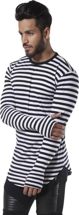 Fugazee Lifestyle Striped Men S Round Neck Black White T Shirt