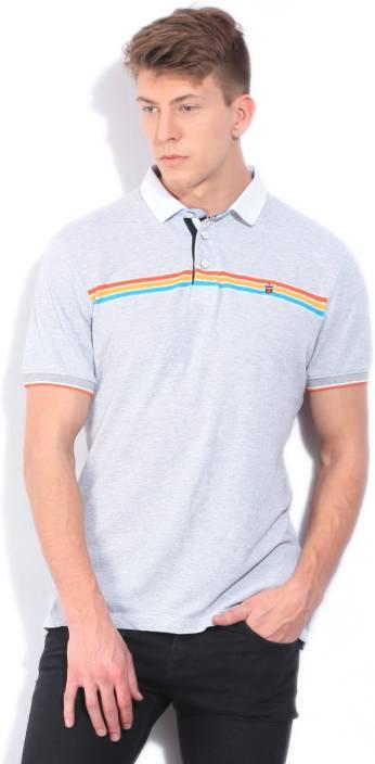 LP Louis Philippe Solid Men's Polo Neck Grey T-Shirt