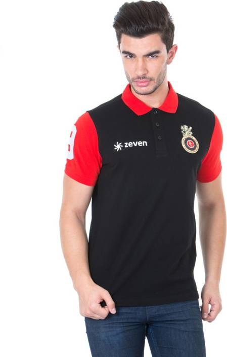Royal Challengers Bangalore Solid Men's Polo Neck Black T-Shirt