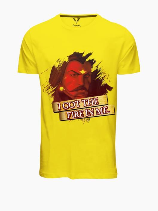 Vimanika Graphic Print Men's Round Neck Yellow T-Shirt