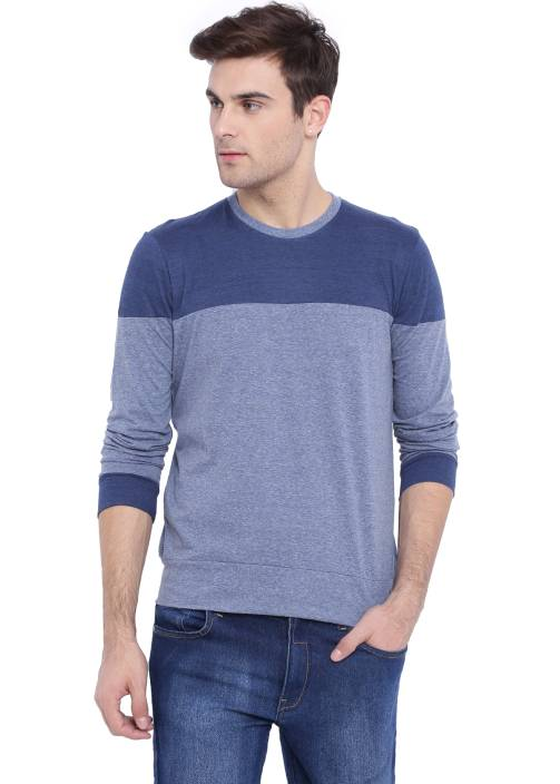 Campus Sutra Solid Men Round Neck Blue T-Shirt