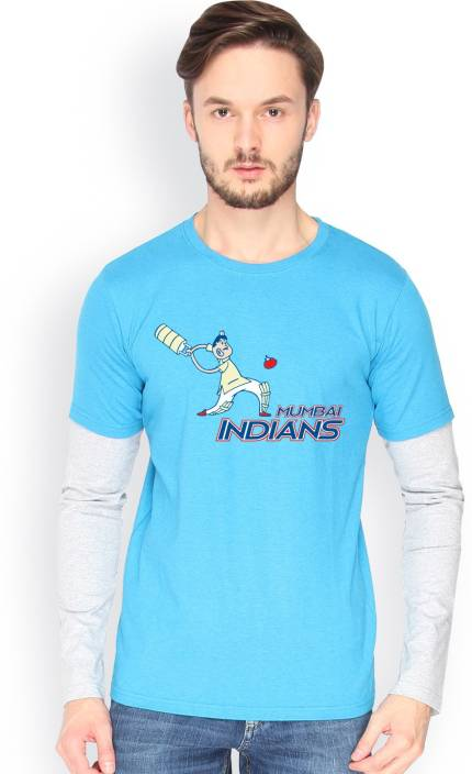 Campus Sutra Printed Men Round Neck Light Blue, Grey T-Shirt