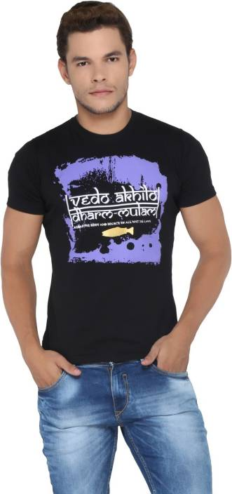 Vimanika Printed Men's Round Neck Black T-Shirt