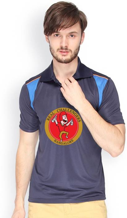 Campus Sutra Printed Men Polo Neck Dark Blue T-Shirt