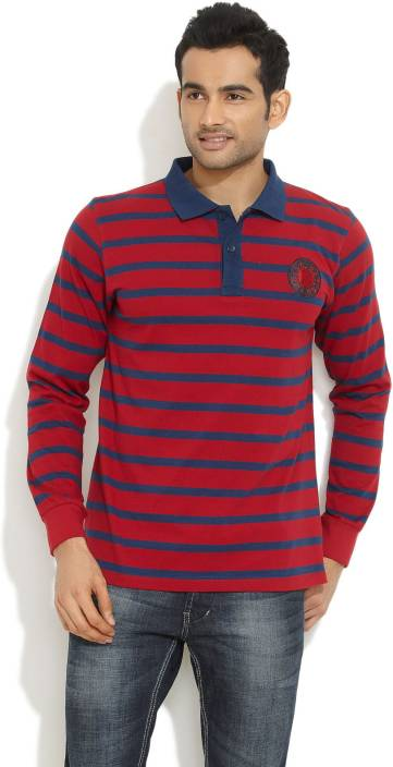 a8abb039 Indigo Nation Street Striped Men's Polo Neck Red, Blue T-Shirt - Buy Red  Indigo Nation Street Striped Men's Polo Neck Red, Blue T-Shirt Online at  Best ...
