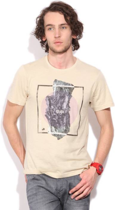 LP Jeans by Louis Philippe Printed Men's Round Neck Beige T-Shirt