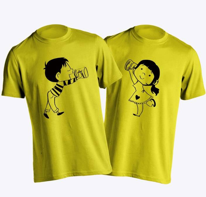 Young Trendz Printed Men & Women Round Neck Yellow T-Shirt
