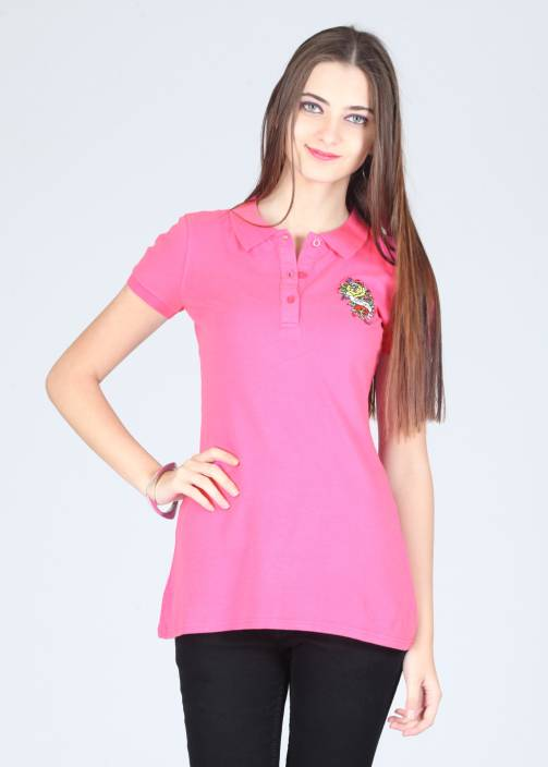 Ed Hardy Printed Women's Polo Neck Pink T-Shirt - Buy Pink Ed ...