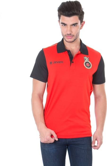 Royal Challengers Bangalore Solid Men's Polo Neck Red T-Shirt