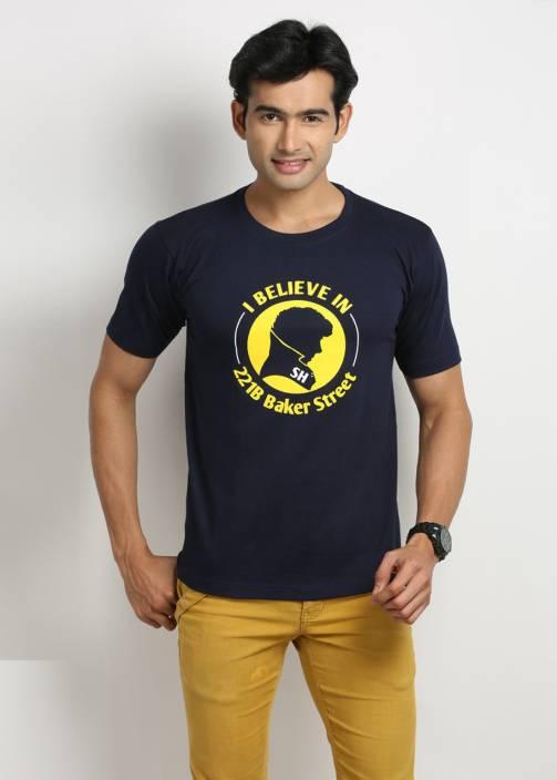 Weardo Printed Men's Round Neck Dark Blue T-Shirt