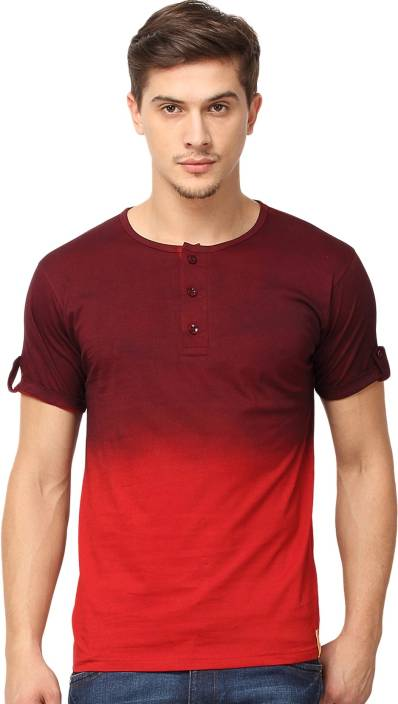Campus Sutra Solid Men Henley Maroon T-Shirt