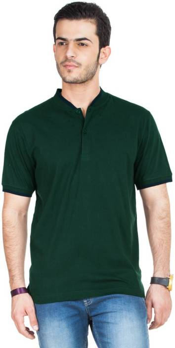 Concepts Solid Men's Polo Neck Dark Green T-Shirt