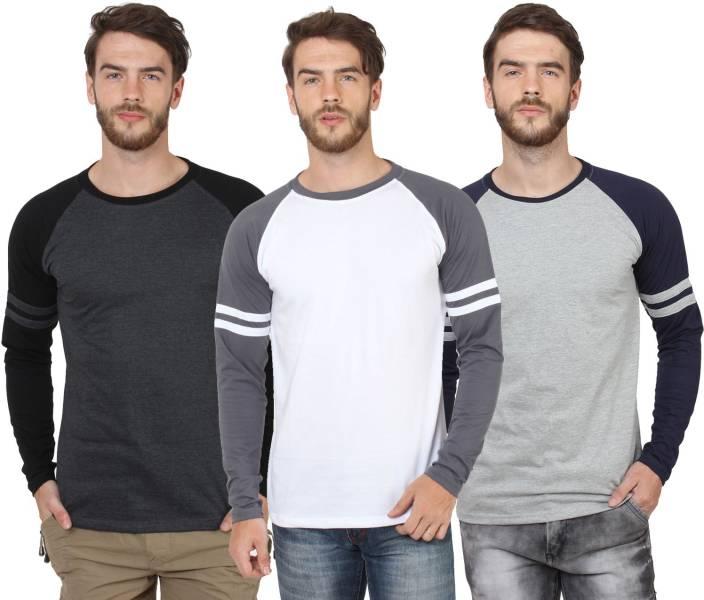 SayItLoud Solid Men's Round Neck Black, White, Grey T-Shirt