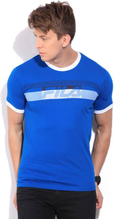 Fila Printed Men's Round Neck Blue T-Shirt