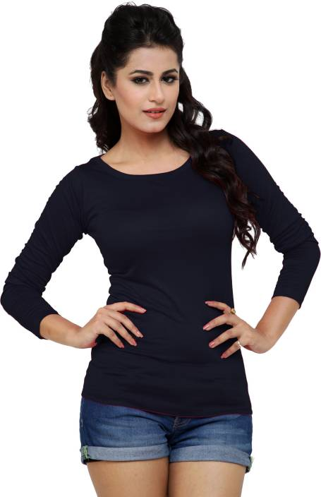 Alba Solid Women's Round Neck Black T-Shirt - Buy Black Alba Solid ...