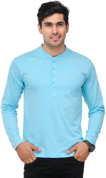 TSX Solid Men's Henley Light Blue T-Shirt