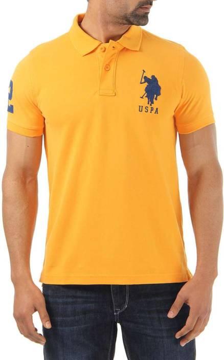 db1640caf U.S. Polo Assn Solid Men's Polo Neck Orange T-Shirt - Buy Apricot U.S. Polo  Assn Solid Men's Polo Neck Orange T-Shirt Online at Best Prices in India ...