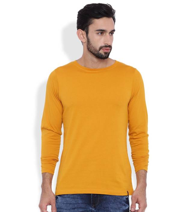 Rodid Solid Men's Round Neck Yellow T-Shirt