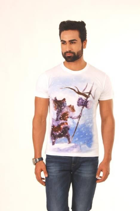 Vimanika Graphic Print Men's Round Neck Multicolor T-Shirt
