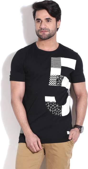 United Colors of Benetton. Printed Men's Round Neck White, Black T-Shirt
