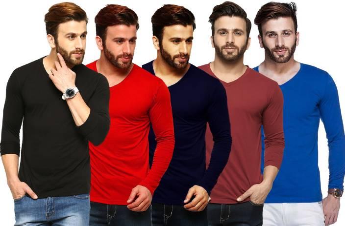 Tripr Solid Men's V-neck Multicolor, Black, Red, Dark Blue, Maroon, Blue T-Shirt