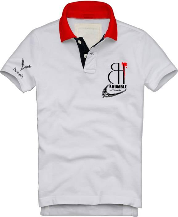 Vimanika Solid Men's Polo Neck White T-Shirt