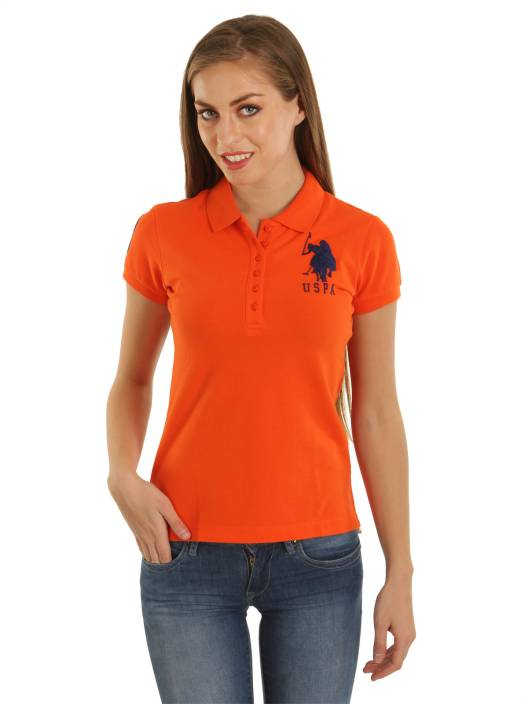 01d95625f U.S. Polo Assn Solid Women s Polo Neck Orange T-Shirt - Buy Orange U.S. Polo  Assn Solid Women s Polo Neck Orange T-Shirt Online at Best Prices in India  ...