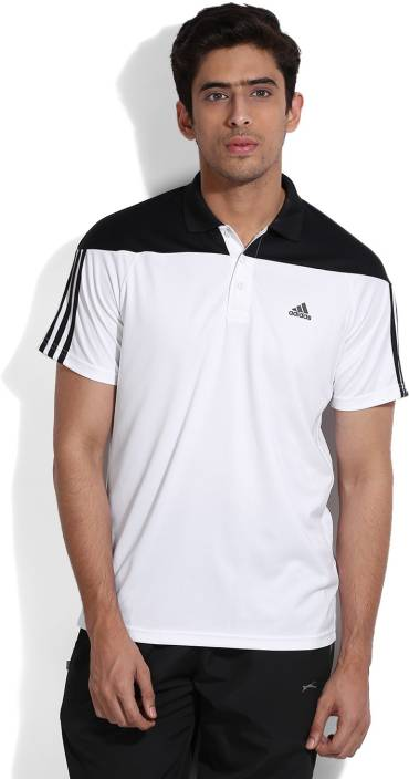 ADIDAS Solid Men's Polo Neck White, Black T-Shirt