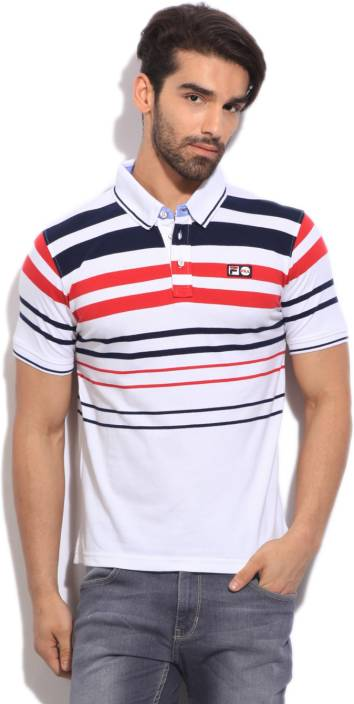 Fila Striped Men's Polo Neck White, Blue, Red T-Shirt