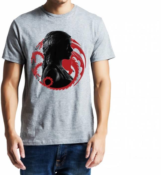 Baklol Printed, Graphic Print, Solid Men's Round Neck Grey T-Shirt